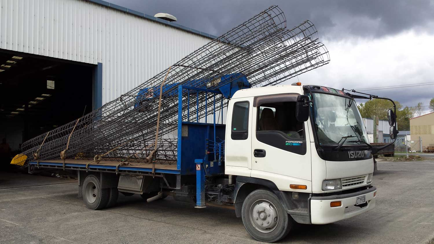 Reinforcing pile cages on a truck ready for delivery to site in Auckland.